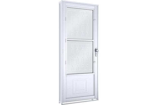 Porta de Giro em Aço com Postigo E Grade Mosaico 215x90cm Branca - Lucasa