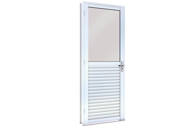 Porta de Giro em Aço Mista Direita com Vidro Inteiro 215x86cm Branca - Lucasa