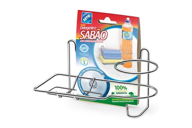 Porta Detergente E Bucha com Fixação por Sucção - Arthi