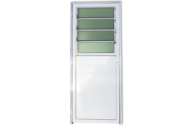 Porta Direita com Basculante E Vidro em Alumínio Super 25 210x86cm Branca - Brimak