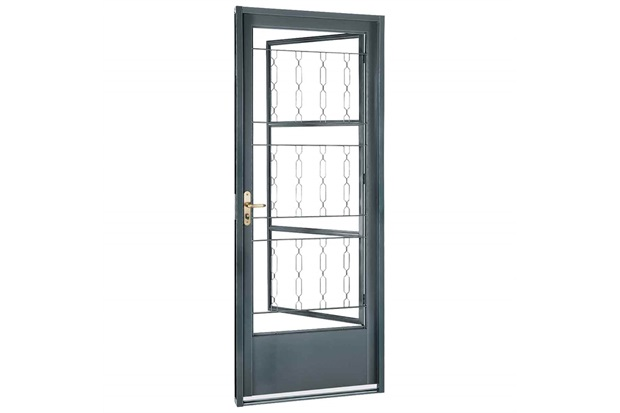 Porta Direita com Grade Elo Belfort 217x87cm Cinza - Sasazaki