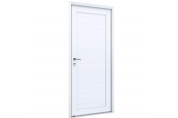 Porta Direita com Lambri E Maçaneta Eccellente 215x95cm Branca - Lucasa