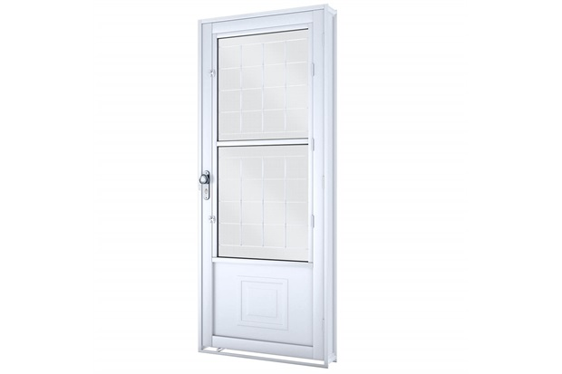 Porta Direita com Postigo E Grade Quadrada Facilità 215x90cm Branca - Lucasa