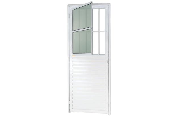 Porta Direita com Postigo E Vidro em Alumínio Super 25 210x86cm Branca - Brimak