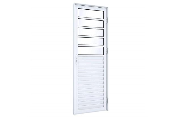 Porta Direita com Travessa E Ventilação Eccellente 215x85cm Branca - Lucasa