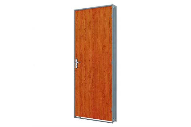 Porta em Duraplac Direita com Batente em Aço 215x65cm Mogno E Cinza - Riobras
