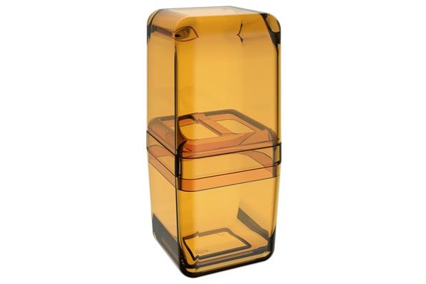 Porta Escova com Tampa Cube 19,5x8,5cm Mel - Coza
