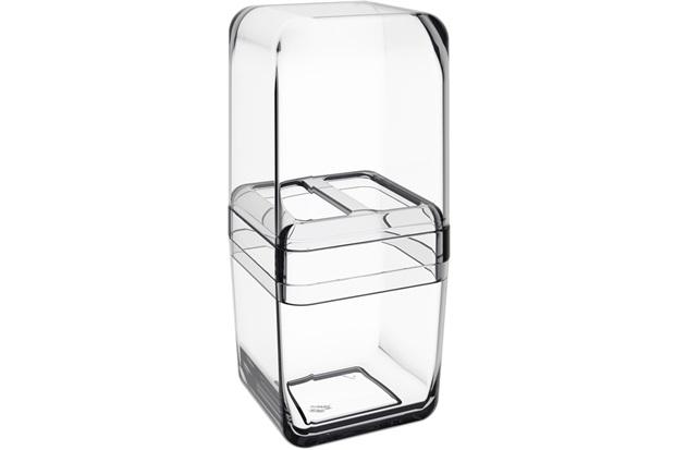 Porta Escova com Tampa Cube Cristal  - Coza