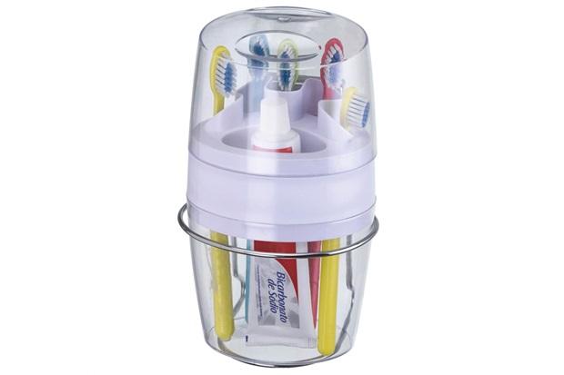 Porta Escovas de Dentes E Pasta com Tampa Transparente - Arthi