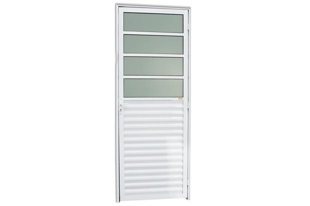 Porta Esquerda com Basculante E Vidro em Alumínio Linha 25 210x80cm Branca - Brimak
