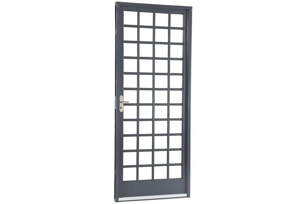 Porta Esquerda com Divisão Quadriculada Belfort 217x87cm Cinza - Sasazaki