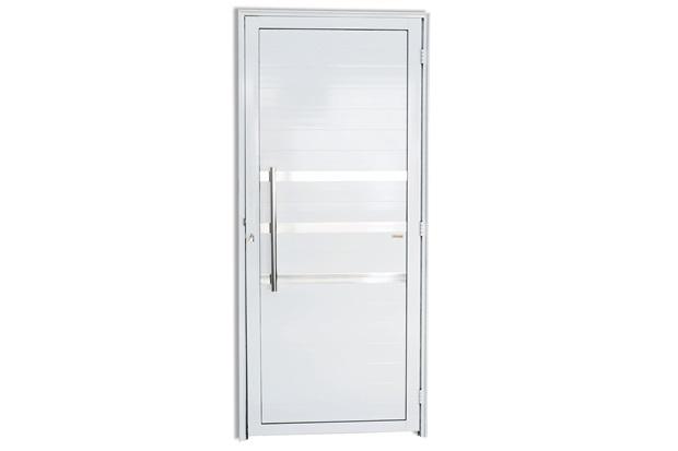 Porta Esquerda com Friso E Puxador em Alumínio Super 25 210x80cm Branca - Brimak