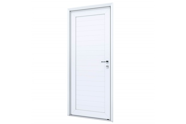 Porta Esquerda com Lambri E Maçaneta Eccellente 215x95cm Branca - Lucasa