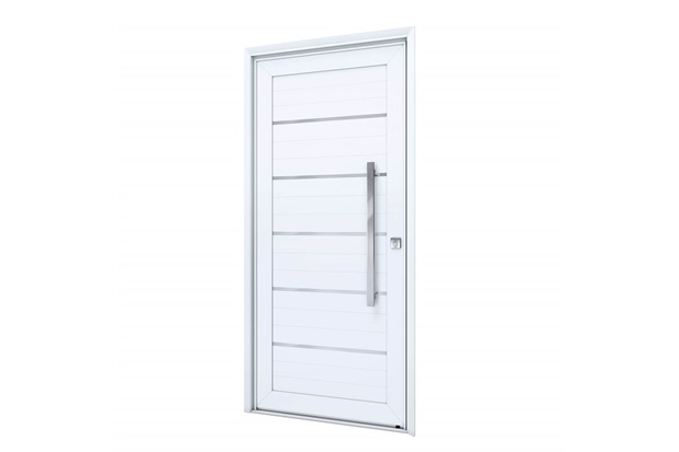 Porta Esquerda com Lambri E Puxador Eccellente 215x105cm Branca - Lucasa