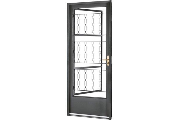 Porta Esquerda com Postigo E Grade Elo Belfort 217x87cm Cinza - Sasazaki