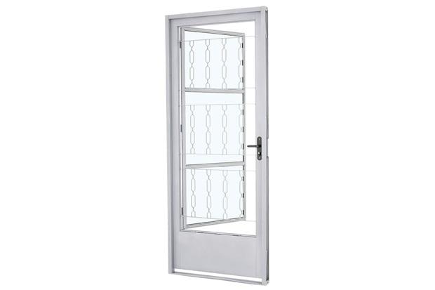 Porta Esquerda com Postigo E Grade Quadriculada Prátika 217x87cm Branca - Sasazaki