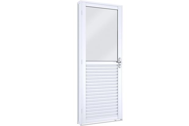 Porta Esquerda Mista com Vidro Facilità 215x86cm Branca - Lucasa