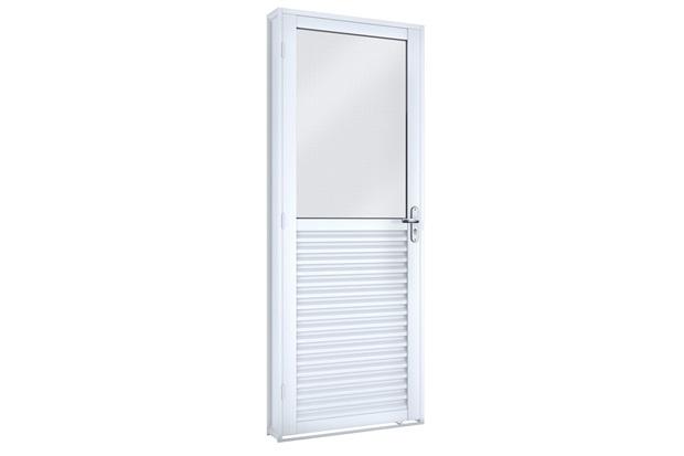 Porta Giratória Mista com Vidro Inteiro Branco 215x86cm - Lucasa