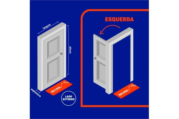 Porta Interna Esquerda para Banheiro Aluminium 215x78cm Branca - Sasazaki