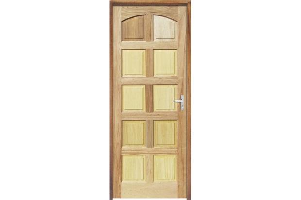 Porta Maciça Montada Esquerda Mista Rubi 210x82cm - Sidney Esquadrias