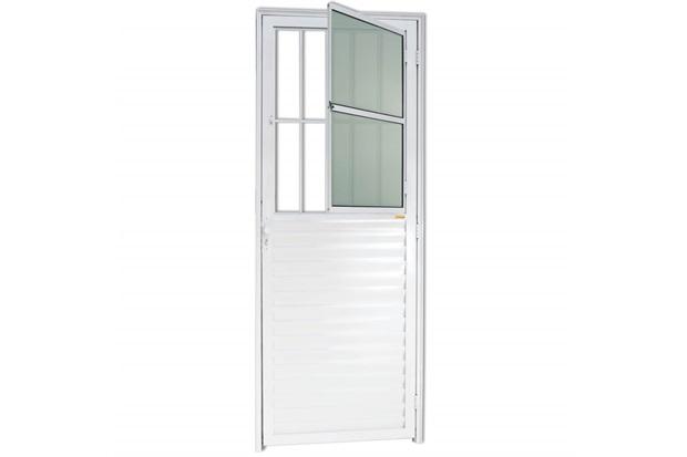 Porta para Sala em Alumínio Esquerda L-25 210x80cm Branca - Brimak