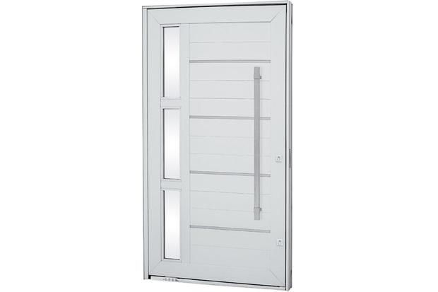 Porta Pivotante com Lambri Esquerda Aluminium Frisada 223,5x126,7cm Branca - Sasazaki