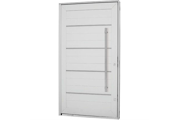 Porta Pivotante com Lambri Esquerda sem Vidro Aluminium Frisada 223,5x126,7cm Branca - Sasazaki