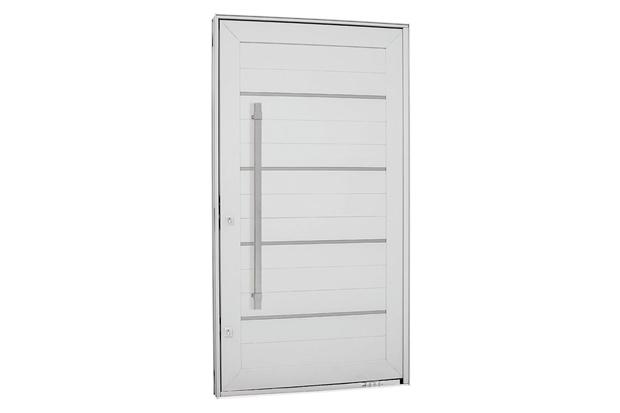 Porta Pivotante Direita com Friso, Lambri Horizontal E Puxador Aluminium 223,5x126,2cm Branca - Sasazaki