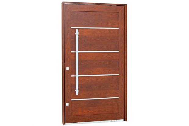 Porta Pivotante Direita com Friso, Lambri Horizontal E Puxador Aluminium 243,5x146,2cm Madeira - Sasazaki