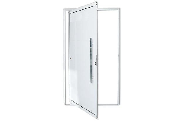 Porta Pivotante Direita com Lambri E Puxador em Alumínio 210x120cm Branca - Brimak