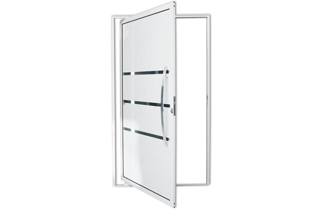 Porta Pivotante Direita com Lambri E Puxador em Alumínio Evolution 210x100cm Branca - Brimak