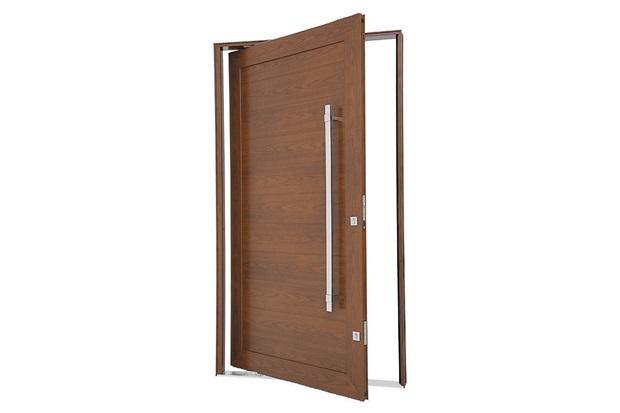 Porta Pivotante Direita com Lambri Horizontal E Puxador Aluminium 223,5x126,2cm Madeira - Sasazaki