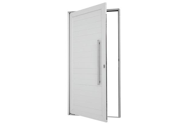 Porta Pivotante Direita Puxador Fechadura 216x100cm Branca - Sasazaki
