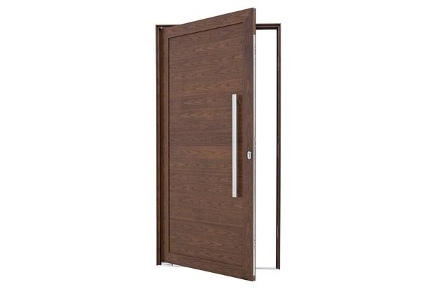 Porta Pivotante Direita Puxador Fechadura 216x100cm Mogno - Sasazaki