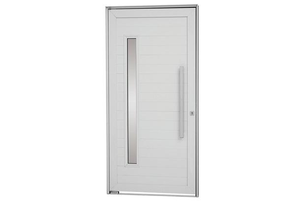 Porta Pivotante Direita Vidro Puxador 216x100cm Branca - Sasazaki