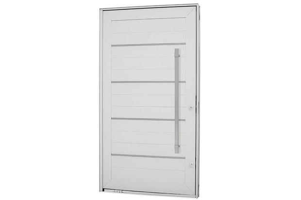 Porta Pivotante Esquerda com Friso, Lambri Horizontal E Puxador Aluminium 243,5x146,2cm Branca - Sasazaki