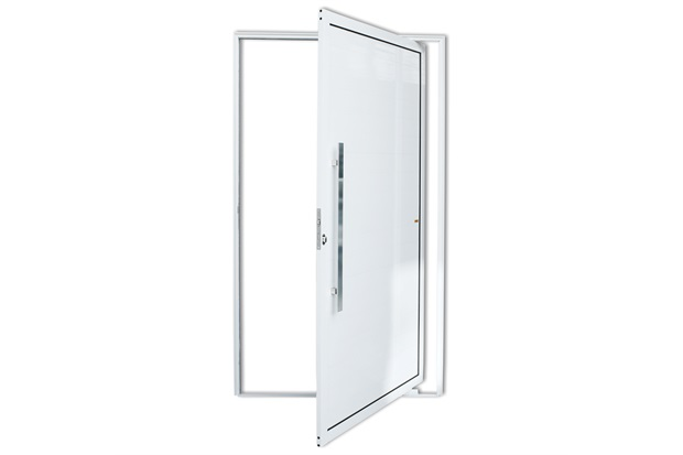 Porta Pivotante Esquerda com Lambri E Puxador em Alumínio 210x100cm Branca - Brimak