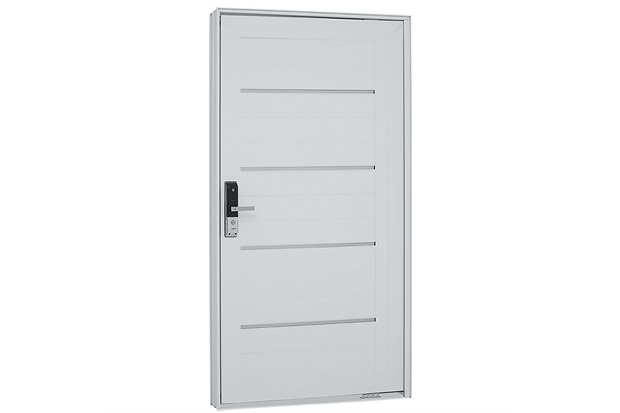 Porta Pivotante Esquerda com Lambri Horizontal E Fechadura Biométrica Aluminium 223,5x126,2cm Branca - Sasazaki