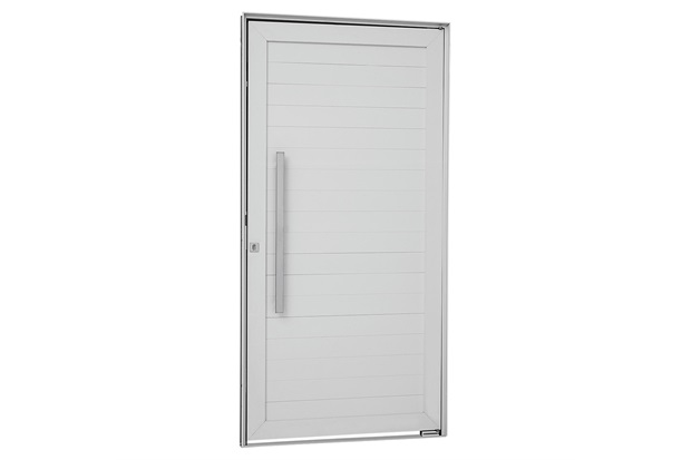 Porta Pivotante Esquerda com Lambri Horizontal E Puxador Alumifort 216x100cm Branca - Sasazaki