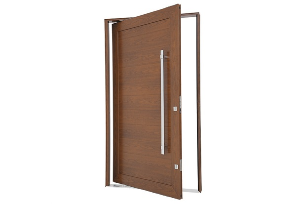 Porta Pivotante Esquerda com Lambri Horizontal E Puxador Aluminium 243,5x146,2cm Madeira - Sasazaki