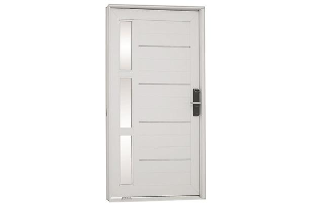 Porta Pivotante Esquerda com Vidro, Lambri E Fechadura Biométrica Aluminium 223,5x126,2cm Branca - Sasazaki