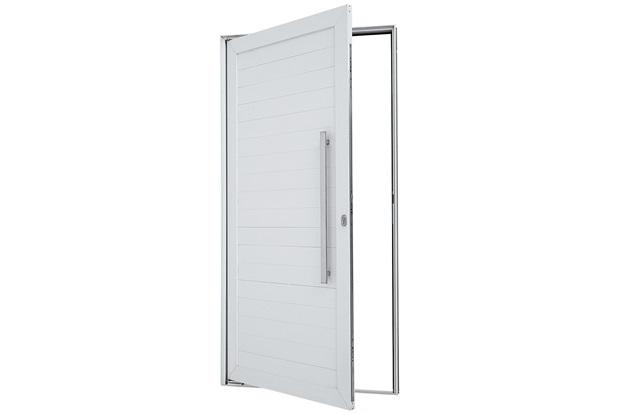 Porta Pivotante Esquerda Puxador Fechadura 216x100cm Branca - Sasazaki