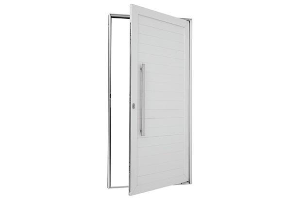 Porta Pivotante Esquerda Puxador Fechadura 216x110cm Branca - Sasazaki