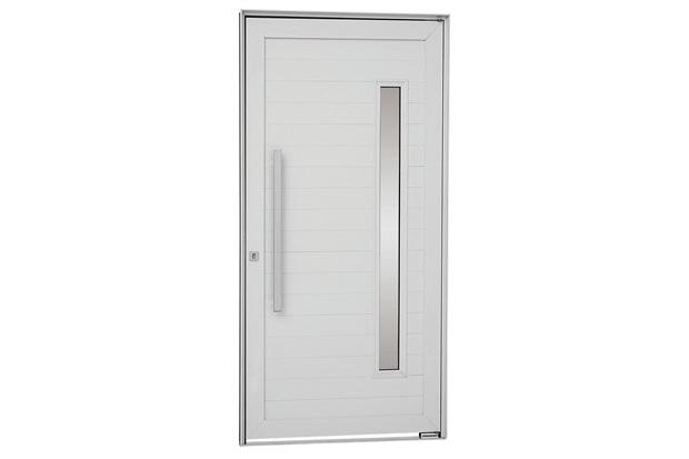 Porta Pivotante Esquerda Vidro Puxador 216x100cm Branca - Sasazaki