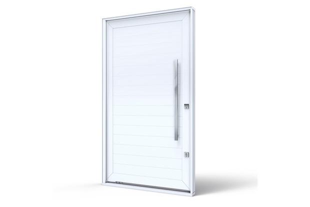 Porta Pivotante Lado Esquerdo sem Friso Branca 225x130x12cm - Lucasa