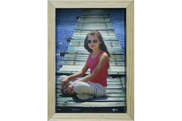 Porta-Retrato com Moldura Color Wood 15x21cm Preto - Kapos