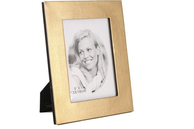 Porta-Retrato em Couro 13x18cm Dourado - Toyland