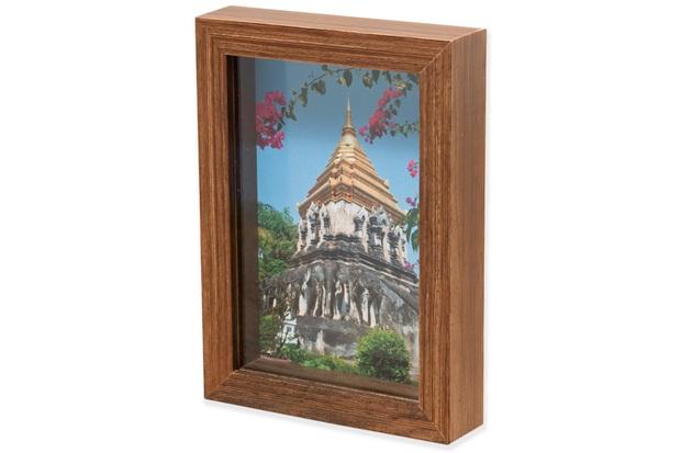 Porta Retrato em Madeira Caixa Liso 15x10cm Natural - Casa Etna