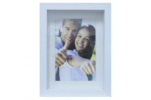 Porta Retrato em Madeira Caixa Liso 18x13cm Branco - Casa Etna