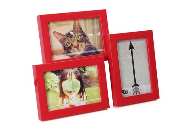 Porta Retrato Triplo Vermelho  - Umbra
